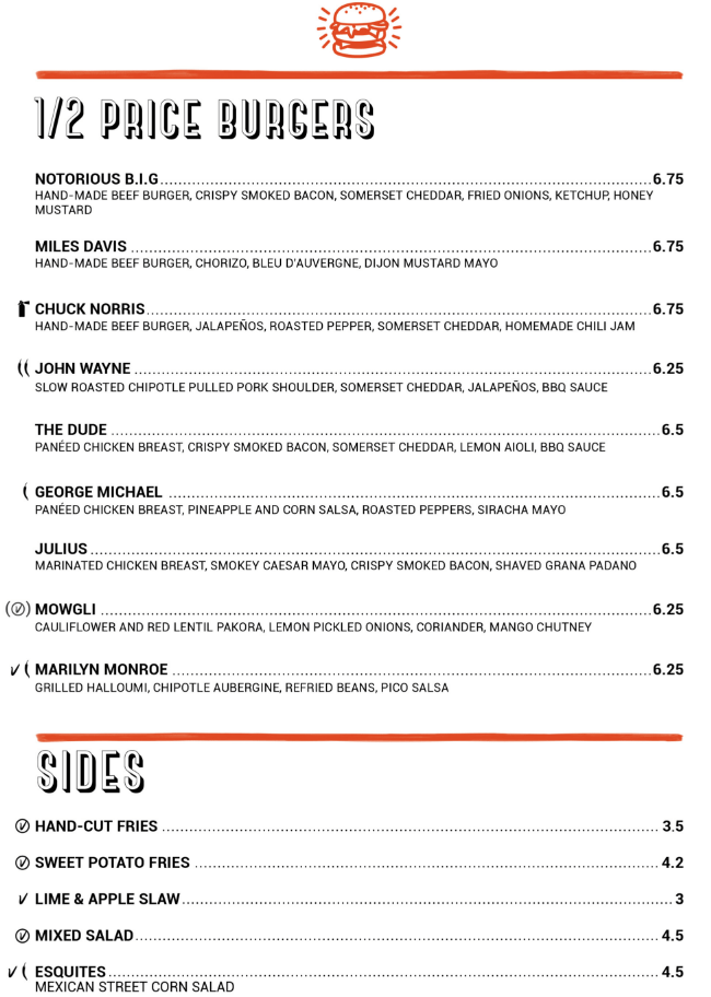 Burger Menu Monkey Bar