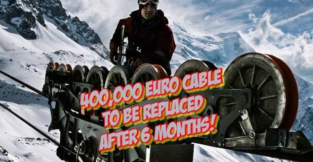 New Cable To Be Installed On The Aiguille du Midii Chamonix
