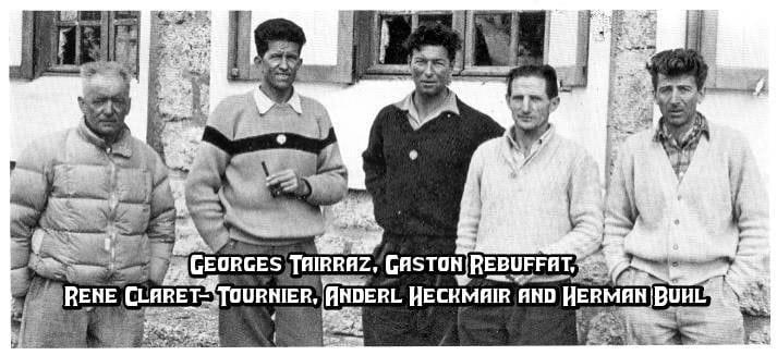 Georges Tairraz, Gaston Rebuffat, Rene Claret- Tournier, Anderl Heckmair and Herman Buhl